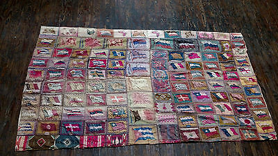 1900-1920's Tobacco Cigar Felt World Flags & Butterflies Quilt Blanket Vintage