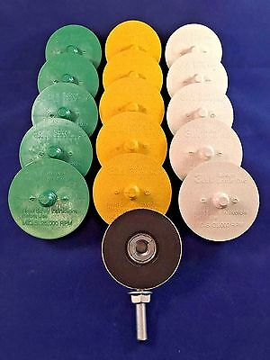 3M Scotch-Brite Roloc 50,80 and 120 Grit Bristle Disc  Green,Yellow,White..Qty16