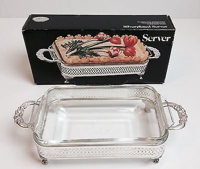 Leonard Silver Plate SERVER W/REMOVABLE One Quart Ovenproof Glass Liner