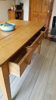 ~Antique ~Solid Pine ~Table ~Three Drawers ~Farmhouse~