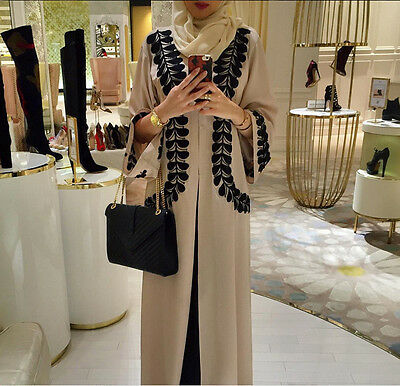 Robe Muslima Kaftan Abaya Dress Cardigan Robe Arab Islamic Black Beige 6 8 10 12