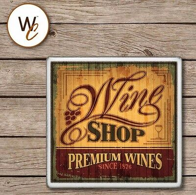Ceramic Tile WINE Coaster, Vintage Wine Shop Label Design, Drink Coaster, Bar