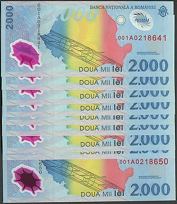 Romania N020 1999, 2000 Lei Polymer, sequential serial numbers, 10 UNC notes