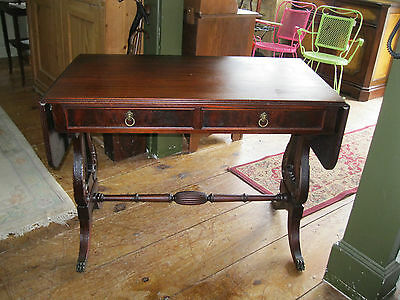 Mahogany Library Table Sofa Table with Drop Leaves - #00561