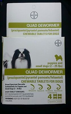 Bayer Quad Dewormer for Puppies and Small Dogs 2-25lbs *** (4 Chew Tabs)