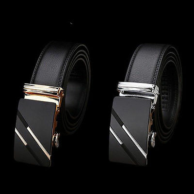 Waist Mens Genuine Leather Automatic Buckle Strap Belt Waistband Gift New A0061