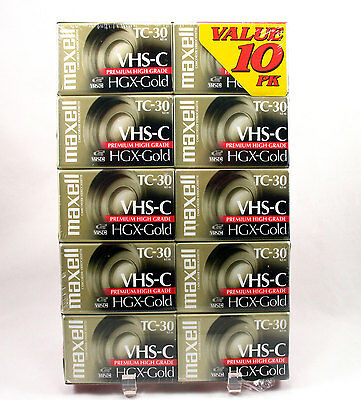 Maxell Camcorder Video Cassette VHS-C HGX-Gold TC-30 10 Pack New Sealed