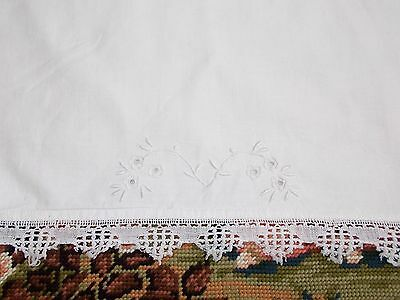 Vintage French Pillow Sham, Euro Style Pillow Case, White Embroidery, Lace trim