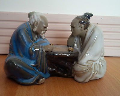 Chinese mud man figurine glazed men playing go game shiwan