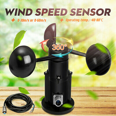 12-24V Wind Speed Sensor Anemometer Three Cups Current Voltage 0-5V + 3m cable