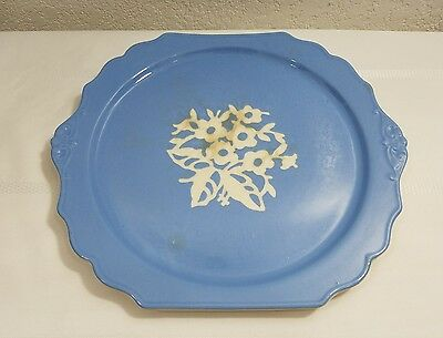 Vintage Cameo Ware Harker Pottery Co Usa Platter-Blue-Flowers-Scalloped Edge