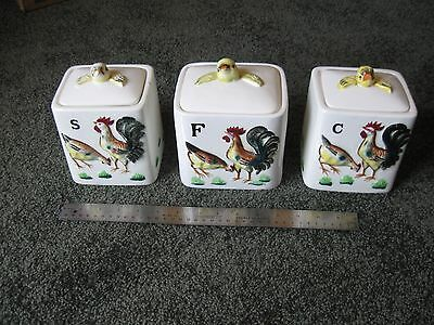 Vintage Ceramic Canister Set Rooster / Hen Hand Painted - Made in Japan