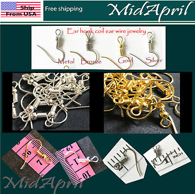 EARRING HOOK COIL EAR WIRE FOR JEWELRY Making accessories plated