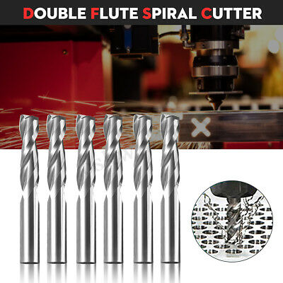 1pcs Double Flute Spiral Cutter CNC Router Bits 6x22mm For Wood Acrylic Drill