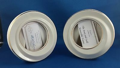 Set of 2 Lenox Ivory and Gold 24K Memorable Picture Frames with Certificates