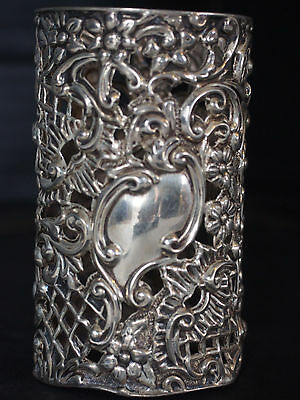 Antique Henry Matthew Sterling Repousse Pierced Perfume Scent Bottle Cup Holder