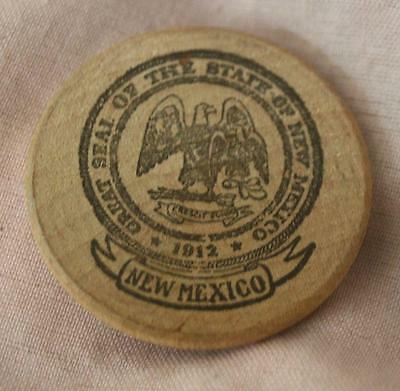 Vintage Wooden Nickel -Great Seal of the State of New Mexico
