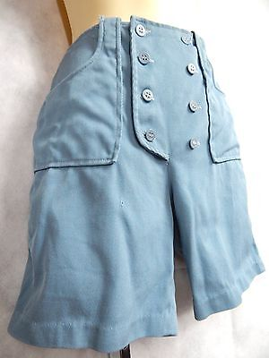 Vintage 1950s Ann Robin Japan Made High Waisted Double Navy Buttons Bib Shorts