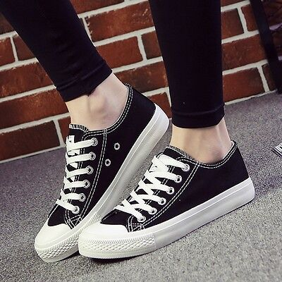 Women's Breathable Canvas Shoes Lace Up Wearable Anti-slip Fashion Sneakers