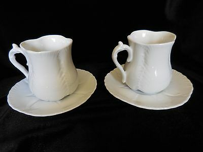 Maryland China 2 TWO SETS CUPS AND SAUCERS White Leaf Pattern MADE IN JAPAN