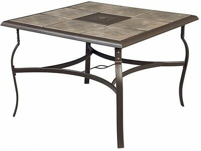 Square Patio Dining Table Outdoor Furniture Ceramic Tile Top
