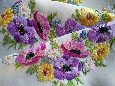 """Exquisite Anemones & Florals ~Raised Hand Embroidered Vintage Tablecloth 35.5""""sq"""