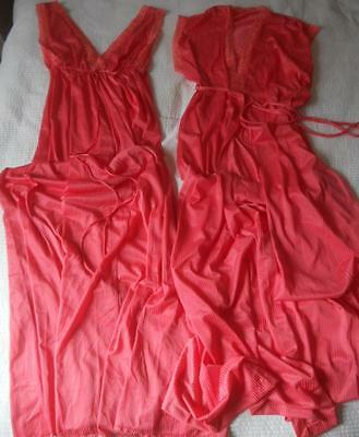 Vintage 1970's Novita Watermelon Pink Nylon Sleeveless Nightie & Negligee 10
