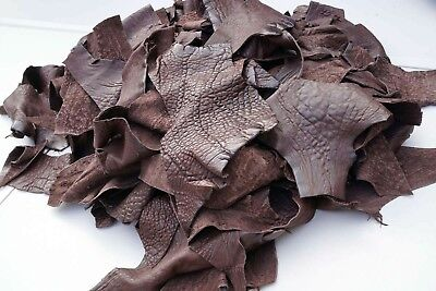 Brown lambskin pebbled texture leather scrap Hand size or larger