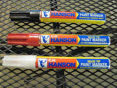 CH Hanson Paint Markers - 1 Black, 1 Red, 1 White