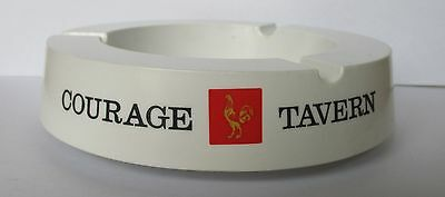 Courage Tavern Beer white plastic Made In Italy cigarette ashtray for home bar