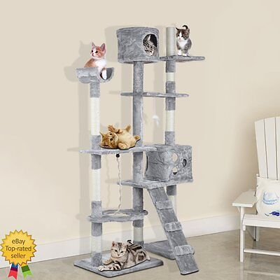 176cm Cat Kitten Tree Tower Furniture Toy Scratching Pole Post Activity Gym