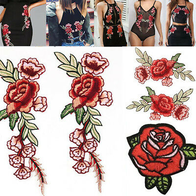 2 X Red Rose Flower Embroidery Applique Patch For Shoes Bags Jeans Iron On Stick