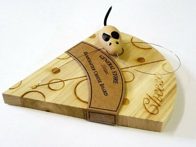 Hand Crafted Wooden Cheese Board Wedge Wire Cutter Mouse Vintage Novelty Gift