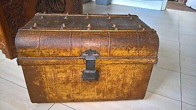 Vintage metal chest trunk steamer - pirate coffee table treasure toy chest