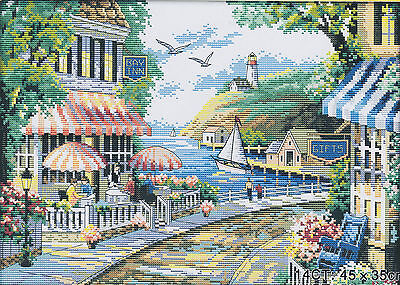 Seaside Cafe 14CT counted cross stitch kit, 46cm x 38cm fabric. CSK0040