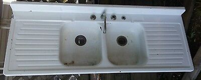 Vintage Porcelain Enamel Kitchen Sink Double Drain Basin 1950s White Mid Century