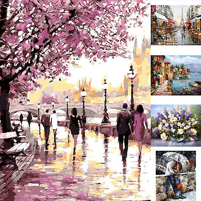 New DIY Digital Oil Painting Kit Paint by Numbers on Canvas Scenery Home Decor