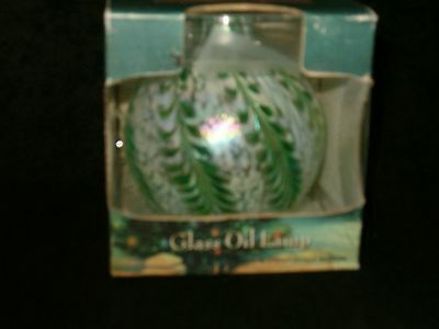 "NIBTraditions White Pearl W/ Green Hand Blown Glass Oil Lamp 4"" Ball Cotton Wick"