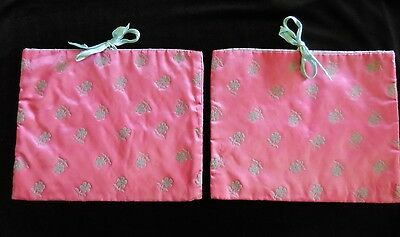 Vintage 2 TWO SCHICPARELLI SATIN Emrboidered LINGERIE BAGS Pink & Grey RIBBON