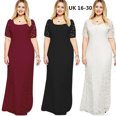 Plus size 16-30 Maxi Lace Bridesmaid Wedding Dress Lady Formal ball gown Party