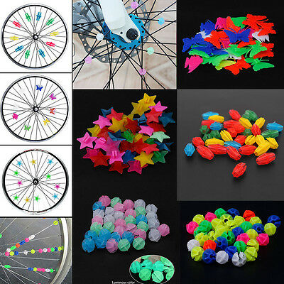 Bicycle Bike Wheel Plastic Spoke Bead Children Kids Clip Colored Decoration 36pc