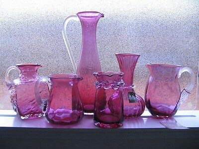 6~Cranberry Vase Pitcher  Pilgrim Glass