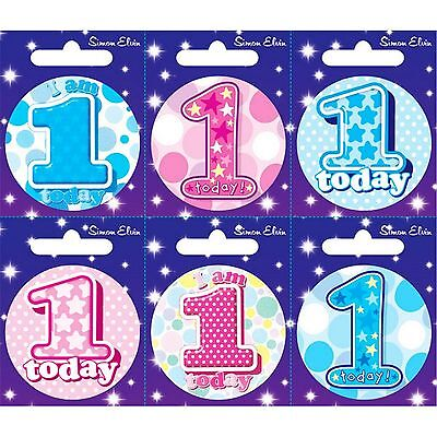 Simon Elvin I AM 1 TODAY Happy 1st Birthday Badge Girl Boy Pink Blue 55mm