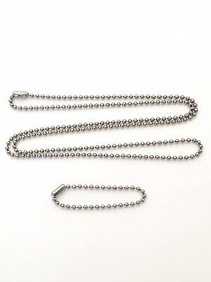 "Military Dog Tag Stainless Steel Ball Chain Set (30"" + 5"") USA MADE WHOLESALE"