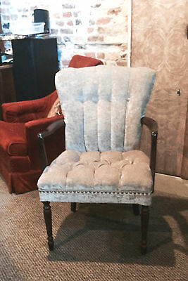 FREE SHIPPING! Vintage, Retro, Channel Back chair, Hollywood Regency, new fabric
