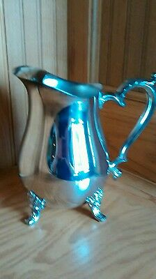 Oneida Silver Footed Water Pitcher Ice Catcher Scroll Handle EUC Free Shipping