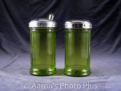 Stoha Vintage Lot o Two 2 German Green Glass Cream and Sugar Dispenser Shakers