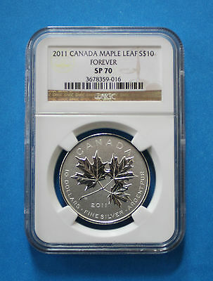 CANADA - 2011 $10 Silver Maple Leaf Forever (NGC SP70)