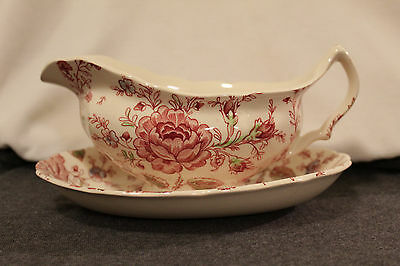 Johnson Brothers Rose Chintz pink Gravy boat & under plate. Made in England