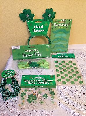 St. Patricks Day Party Lot Shamrock Head Bopper Bracelets Bow Tie Body Decals